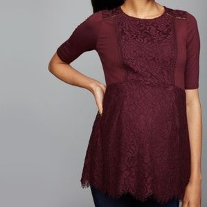A Pea in the Pod Lace Elbow Sleeve Maternity Top